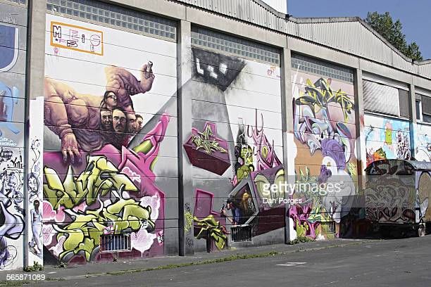 View of the graffiticovered exterior wall of the Kulturzentrum Schlachthof art venue Wiesbaden Germany January 20 2010 The building is a converted...