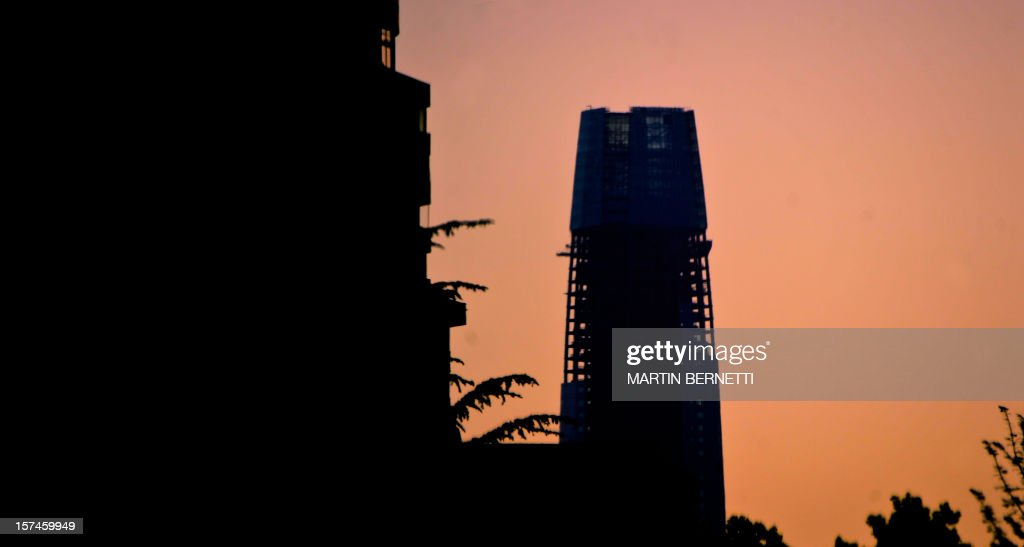 View of the Gran Torre Costanera Center building under construction, the tallest in South America, in Santiago, on November 20, 2012. The 300-metre-high tower was designed by Argentine architect Cesar Pelli, who designed the Petronas Towers in Kuala Lumpur.
