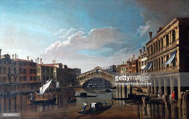 View of the Grand Canal towards the Rialto Bridge Oil on canvas By Canaletto 16971768