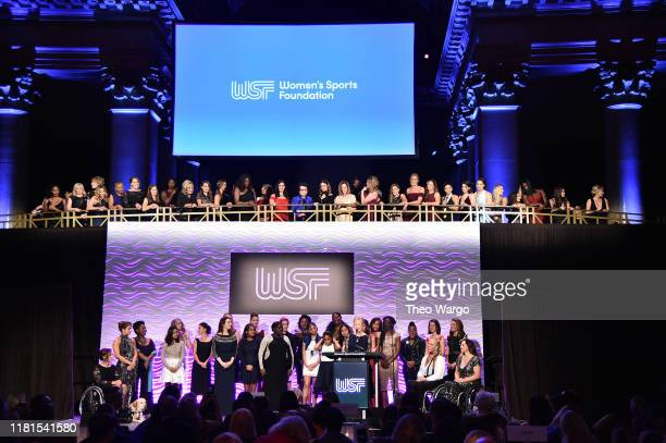 View of the Grand March of Athletes during The Women in Sports Foundation 40th Annual Salute to Women in Sports Awards Gala, celebrating the most...