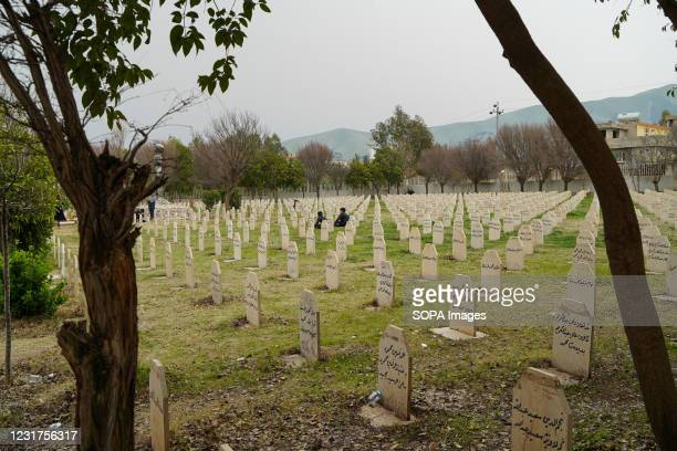 View of the grave yard where the victims of the Halabja chemical attack were buried. The 33rd anniversary of the chemical attack carried out by the...