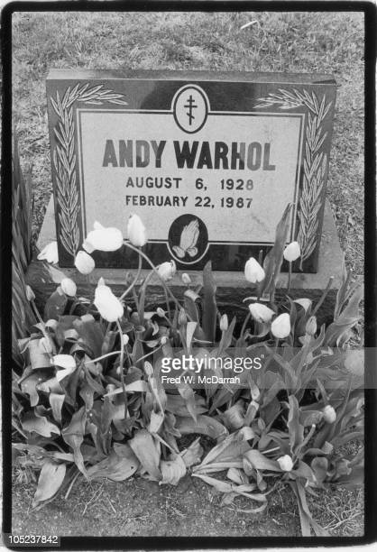 View of the gravestone of American pop artist Andy Warhol in the Saint John the Baptist Byzantine Catholic Cemetery Bethel Park Pennsylvania May 11...