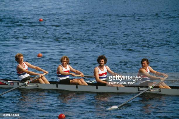 View of the Great Britain Men's coxless four rowing team of John Beattie Ian McNuff David Townsend and Martin Cross pictured in their boat after...