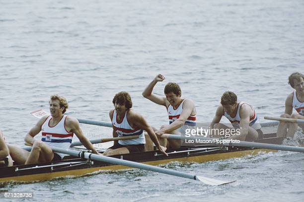 View of the Great Britain men's eights rowing team pictured during competition to win the silver medal in the Men's eights event at the 1980 Summer...