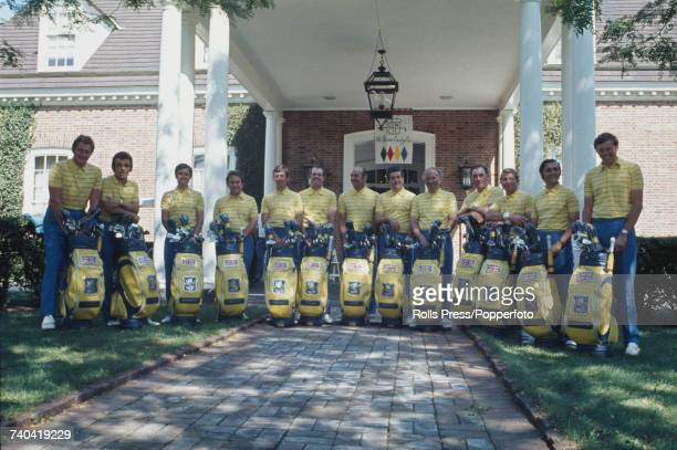 View of the Great Britain Ryder Cup team lined up together in front of the club house at the Old Warson Country Club prior to play against the United...