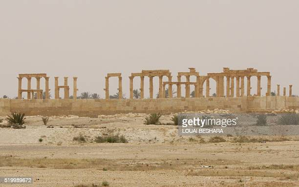 A view of the Great Colonnade in the ancient city of Palmyra in central Syria on April 9 2016 Syrian troops backed by Russian forces recaptured...