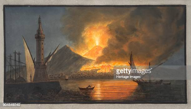 View of the great eruption of Vesuvius from the mole of Naples in the night of the 20th October Plate VI from 'Campi Phlegraei Observations on the...