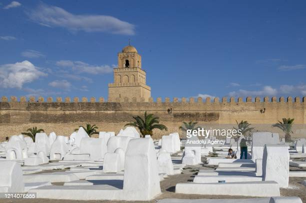 View of the Great Mosque of Kairouan which is empty due to the coronavirus measures to stem the novel COVID-19 pandemic on Laylat al-Qadr, one of the...