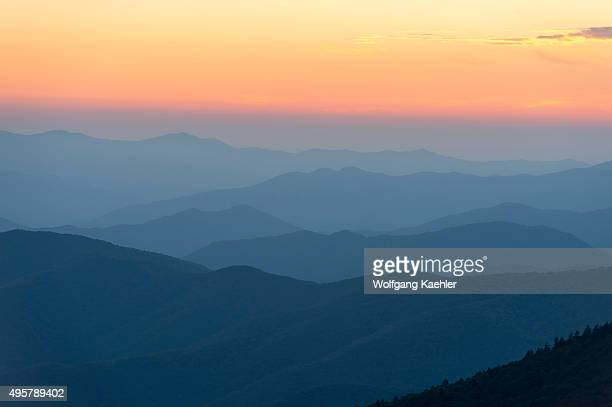 View of the Great Smoky Mountains National Park in North Carolina USA at sunset from Clingmans Dome parking lot