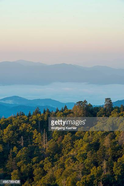 View of the Great Smoky Mountains National Park in North Carolina USA at sunrise from the Newfound Gap Overlook