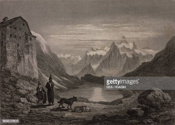 View of the Great St Bernard Pass and Lake from the Hospice with the Pain de Sucre in the background Switzerland Italy engraving by Thomas Jeavons...