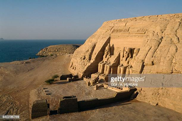 View of the Great Temple of Ramses II west of Lake Nasser Abu Simbel Egypt Egyptian civilisation New Kingdom Dynasty XIX