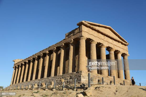 A view of the Greek Temple of Concordia built in the 5th century BC is one of seven temple in the Valley of the Temples or Valle dei Templi seen on...