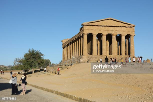 View of the Greek Temple of Concordia, built in the 5th century BC, is one of seven temple in the Valley of the Temples or Valle dei Templi seen on...