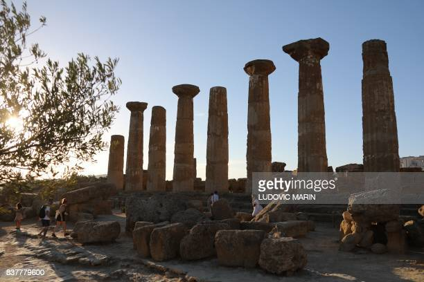A view of the Greek Temple of Heracles one of seven temple in the Valley of the Temples or Valle dei Templi seen on August 13 in Agrigento on the...