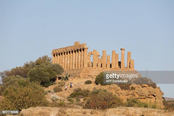 A view of the Greek Temple of Juno built in the 5th century BC is one of seven temple in the Valley of the Temples or Valle dei Templi seen on August...