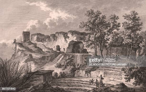 View of the Greek theatre in Syracuse Sicily Italy etching ca 265x20 cm from Voyage pittoresque a Naples et en Sicile Nouvelle edition by JeanClaude...