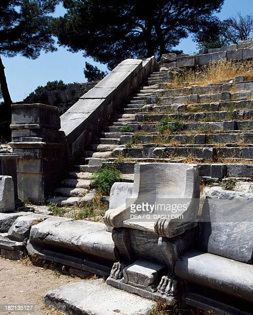 View of the Greek theatre with chairs intended for notables Priene Turkey Roman Civilisation