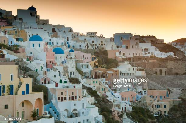 View of the Greek village of Oia in Santorini at sunrise