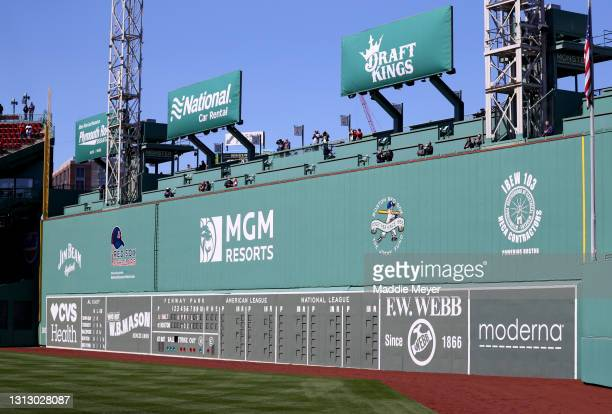 View of the Green Monster at Fenway Park on April 03, 2021 in Boston, Massachusetts.
