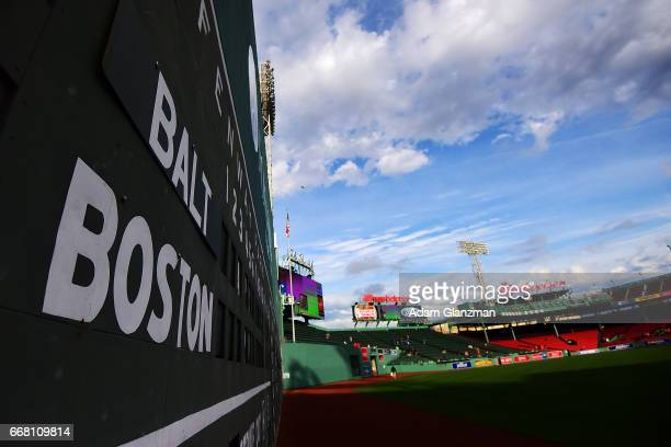 A view of the Green Monster before the Boston Red Sox game against the Baltimore Orioles at Fenway Park on April 12 2017 in Boston Massachusetts