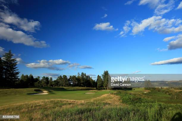View of the green on the 378 yards par 4, 16th hole with the 204 yards par 3, 17th hole behind on the Queen's Course at The Gleneagles Hotel on...