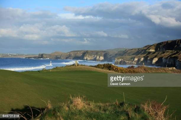 View of the green on the 403 yards par 4, fifth hole on the Dunluce Course at Royal Portrush Golf Club the host club for the 2019 Open Championship...