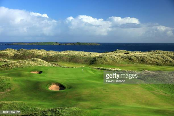 View of the green on the 418 yards par 4, 15th hole 'Skerries' at Royal Portrush Golf Club the venue for The Open Championship 2019 on September 12,...