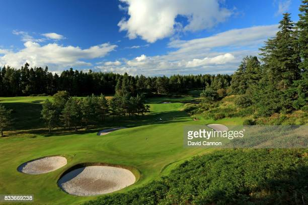 A view of the green on the 433 yards par 4 12th hole with the 140 yards par 3 13th hole behind on the Queen's Course at The Gleneagles Hotel on...