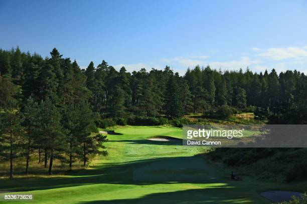 View of the green on the 433 yards par 4, 12th hole with the 140 yards par 3, 13th hole behind on the Queen's Course at The Gleneagles Hotel on...
