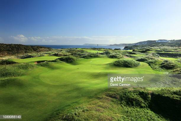 View of the green on the 456 yards par 4, 10th hole 'Himalayas' with the green on the eighth hole behind to the left at Royal Portrush Golf Club the...