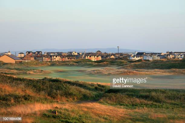 View of the green on the 473 yards par 4, 18th hole 'Babington's' on the Dunluce Links at Royal Portrush Golf Club the venue for The Open...