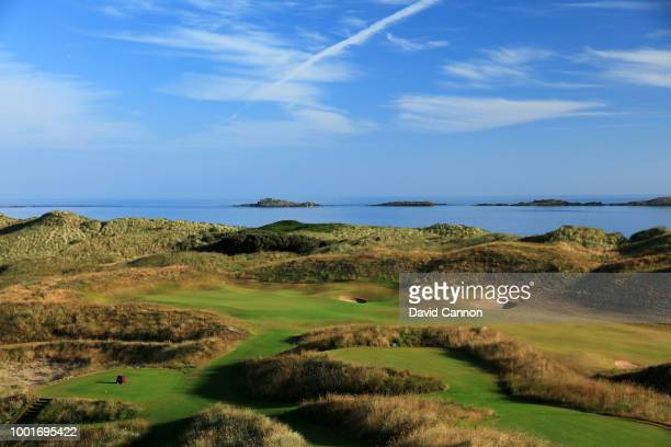 A view of the green on the 590 yards par 5 seventh hole 'Curran Point' from the 16th tee area on the Dunluce Links at Royal Portrush Golf Club the...