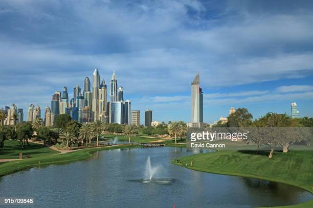 View of the green on the par 3, seventh hole with the Dubai Marina skyline behind on the Majlis Course at The Emirates Golf Club on January 31, 2018...