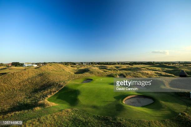 View of the green on the par 3, sixth hole, at the host venue for the 2021 Open Championship at The Royal St. George's Golf Club on July 20, 2020 in...