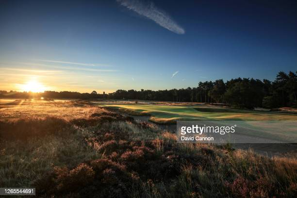 View of the green on the par 4, second hole at first light on the Hotchkin Course at Woodhall Spa Golf Club on August 04, 2020 in Woodhall Spa,...