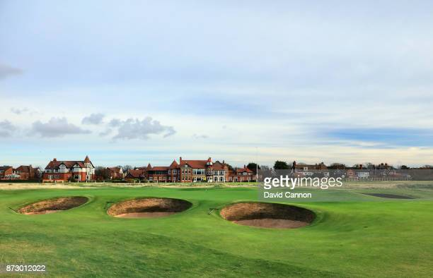 A view of the green on the par 5 16th hole with the clubhouse behind at the Royal Liverpool Golf Club Hoylake on November 8 2017 in Hoylake England