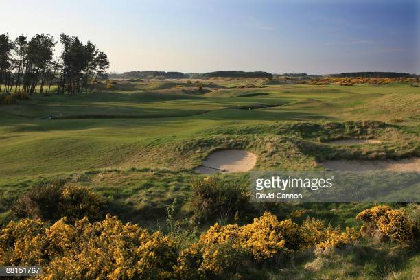 A view of the green on the par 5 18th hole at Dundonald Links on April19 2009 in Irvine Scotland