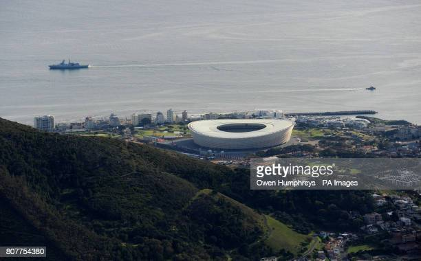 A view of the Green Point Stadium as seen from the top of Table Mountain in Cape Town South Africa