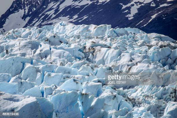 View of the Grey glacier at the Torres del Paine National Park in Magallanes Chile on November 29 2017 A thousandyearold glacier in Chilean Patagonia...