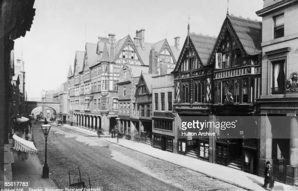 A view of the Grosvenor Hotel and Eastgate in the town of Chester Cheshire circa 1890