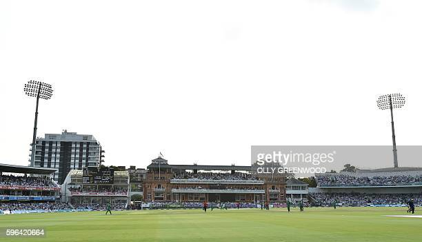 A view of the ground during play in the second one day international cricket match between England and Pakistan at Lord's cricket ground in London on...