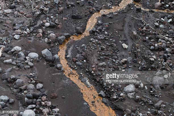 View of the ground near the volcano of fire in La Becerrera community Colima State Mexico on October 2 2016 Mexican authorities have evacuated 400...
