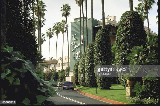 A view of the grounds of the Beverly Hills Hotel