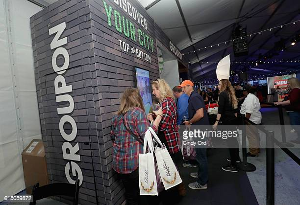View of the Groupon booth at the CocaCola Backyard BBQ hosted by Bobby Flay and Michael Symon presented by Thrillist sponsored by National Beef Pat...