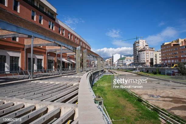 view of the guadalmedina river in malaga, spain - finn bjurvoll stock pictures, royalty-free photos & images