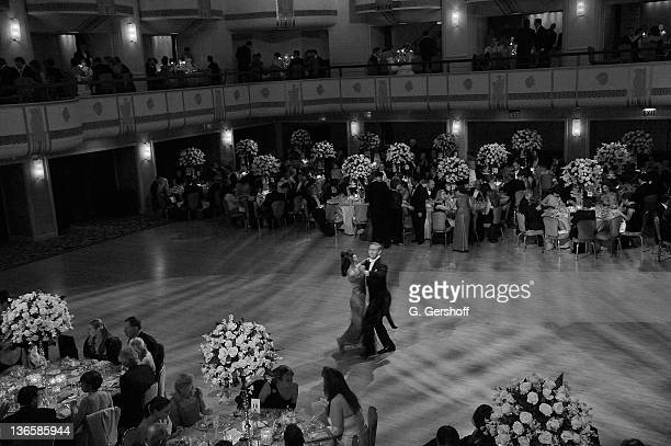 Image has been converted to black and white.) A view of the guests dancing at the 56th annual Viennese Opera Ball at The Waldorf=Astoria on February...