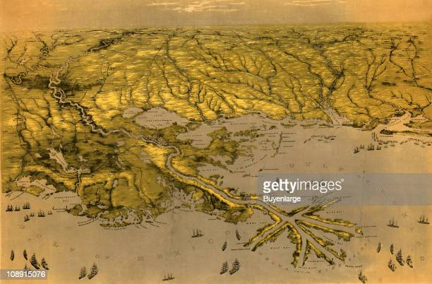 View of the Gulf Coast area centered on the Mississippi River delta showing cities and towns roads railroads rivers and forts 1861 Illustration by...