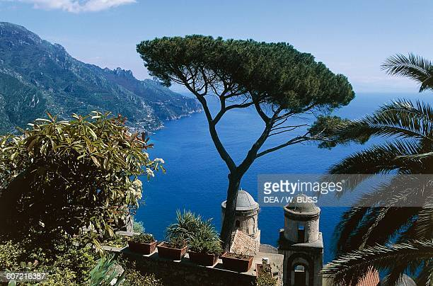 View of the Gulf of Salerno seen from Villa Rufolo with the cupolas of the Church of the Annunciation in the foreground Ravello Amalfi coast Campania...