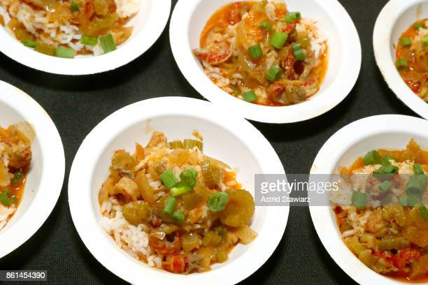 View of The Gumbo Bros' dish, Crawfish Etouffee, during Street Eats hosted by Ghetto Gastro at Industria on October 14, 2017 in New York City.
